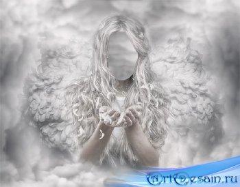 Шаблон psd женский - Светлый ангел в облаках
