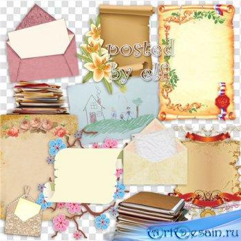 Подборка клипарта - Свитки, бумага, конверты, папки