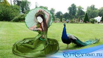Шаблон для девушек - На отдыхе в зеленом платье и зонтом