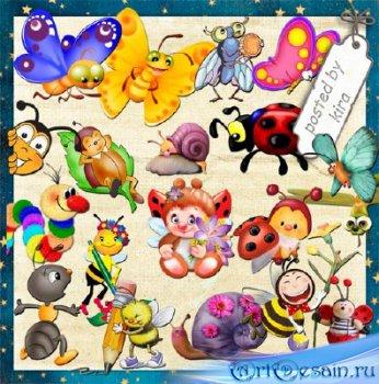 Детский клипарт - забавные насекомые в png