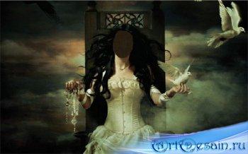 Шаблон psd - В белом платье с голубями