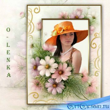 Рамка для фотошопа - На лепестках цветов написано послание