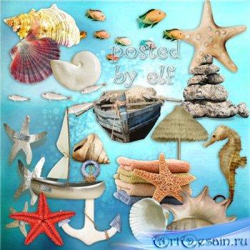 Клипарт - Морская тема на прозрачном фоне