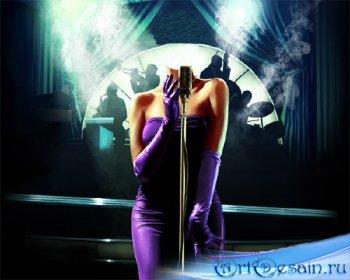 Женский шаблон - Певица в синем платье