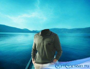 Шаблон для фотошопа - Мужчина на озере