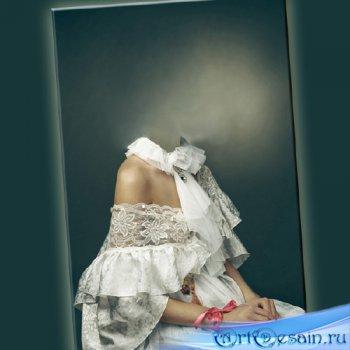 Шаблон psd - В женское белом платье