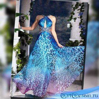 Шаблон женский - В синем вечернем платье