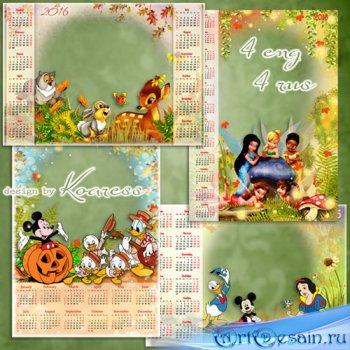 Набор детских календарей с фоторамками на 2016 год с героями мультфильмов Д ...