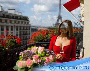 Шаблон для фото - На балкончике в Париже