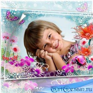 Детская рамка – Унеси меня в сказку волшебную,где цветы ароматные, яркие