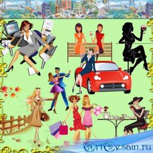 Девушки на работе и отдыхе, в магазине и спортзале – рисованный клипарт на  ...