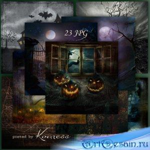 Растровые фоны для дизайна - Ночь на Хэллоуин
