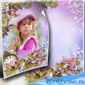 Вертикальная рамка для осеннего фото – В саду осеннем