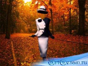 Шаблон для фотошопа - Осенняя дорога