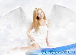 Женский шаблон - Ангел с крыльями в облаках