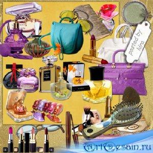 Клипарт в png - Сумки, косметика, очки и другие женские штучки