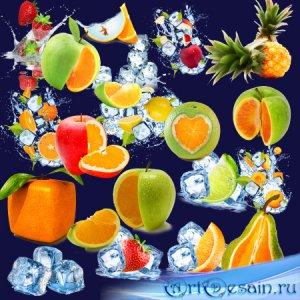 Клипарт в PNG на прозрачном фоне - Стилизованные фрукты и лёд