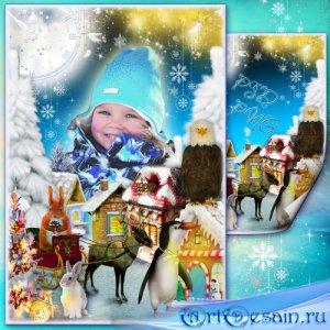 Рамка для фото - Сказочный зимний городок