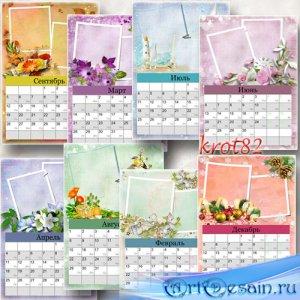 Перекидной календарь с рамками для фото на 2016 – 12 месяцев в году