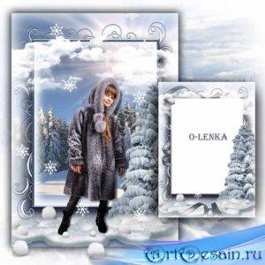 Рамка коллаж для фотошопа - Окутан снегом, лес стоит