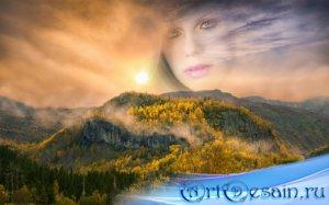 Рамка для фотошоп - Осенний закат в горах