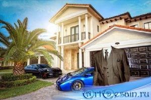Шаблон psd мужской - Олигарх в костюме возле дома