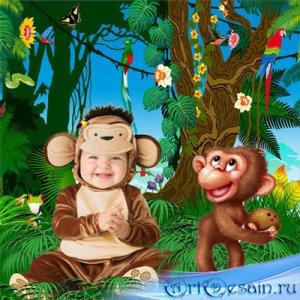 Шаблон  детский - Малыши - обезьянки
