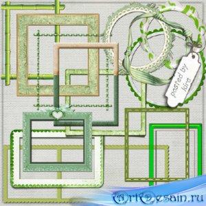 Клипарт в png - Зеленые рамки