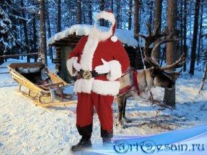 Шаблон для мужчин - Дед Мороз и сани