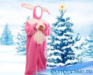 Шаблон для Photoshop - Розовый зайка возле елки