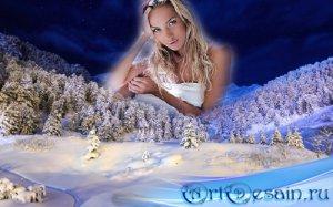 Рамка к фото - Зимний вечерний лес