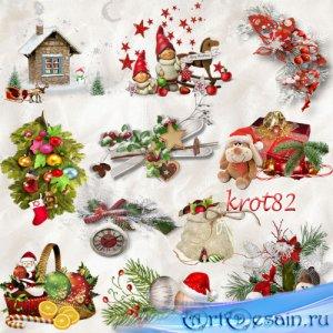 Кластеры PNG новогодние, рождественские – Сказка стучится в наш дом