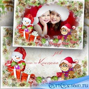 Поздравительная детская новогодняя открытка с вырезом для фото - Обезьянка  ...