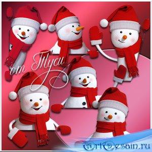 Снеговики в красной шапочке - Клипарт