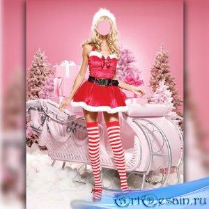 Шаблон для фотомонтажа - Снегурочка возле саней
