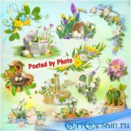 Кластеры на прозрачном фоне - Весна