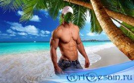 Шаблон для фото - Накаченный парень у моря