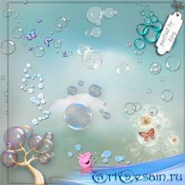 Клипарт - Пузыри, пузырьки на прозрачном фоне