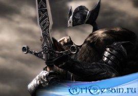Воин фэнтези с мечом - Шаблон psd мужской