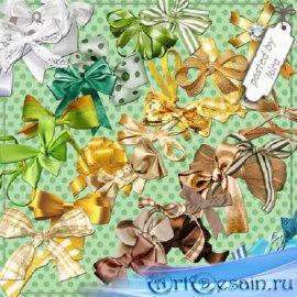 Клипарт в png- Банты, бантики белые, желтые, зеленые, коричневые, голубые