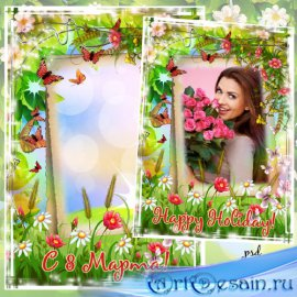 Рамка с 8 марта - Весенние цветы
