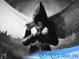 Шаблон для фотомонтажа - Ангел с мечом