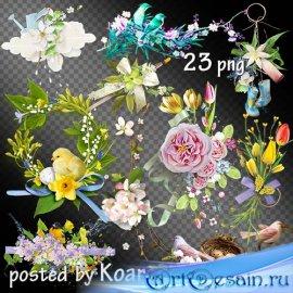 Подборка весенних кластеров с цветами и птицами на прозрачном фоне для диза ...