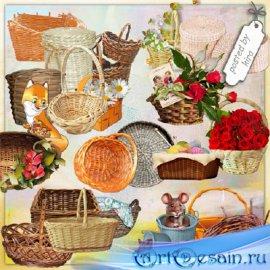 Клипарт в png - Корзины, корзинки с цветами