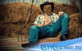 Photoshop шаблон - Ковбой в шляпе на сене