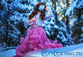 Шаблон psd женский - На фотосессии в розовом пышном платье