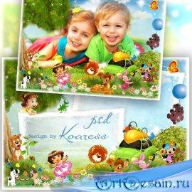 Детская рамка для фотошопа - Веселый пикник