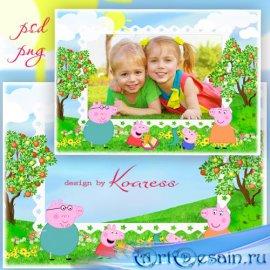Рамка для фотошопа - Свинка Пеппа
