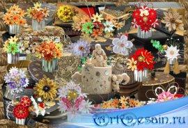 Клипарт Японские шкатулки и заколки канзаши