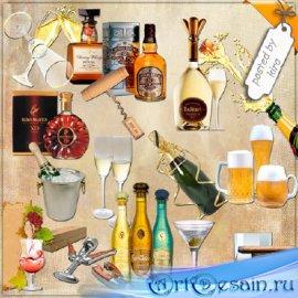 Клипарт  - Бутылки вина, шампанского и бокалы на прозрачном фоне